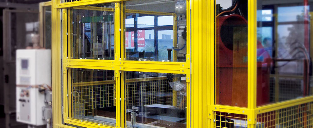 Safety enclosure with grid and glass